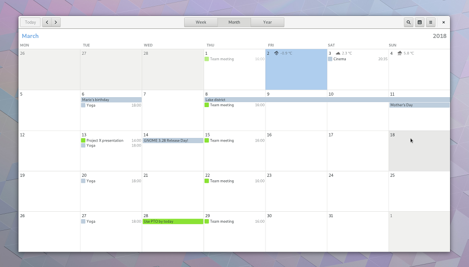screenshot of the updated Calendar application in GNOME 3.28 with weather forecasts built in