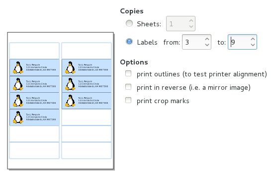 To print labels and cards